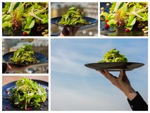 Collage. organic salad with vegetables and greens at restaurant Stock Photos