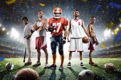 Collage orgulloso de los jugadores de los deportes multi en arena magnífica fotografía de archivo libre de regalías