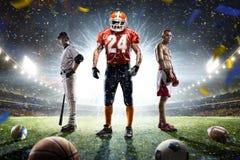 Collage orgulloso de los jugadores de los deportes multi en arena magnífica fotos de archivo libres de regalías