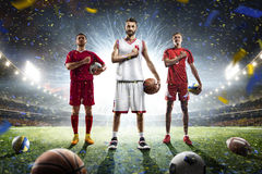 Collage orgulloso de los jugadores de los deportes multi en arena magnífica imágenes de archivo libres de regalías