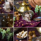 Collage of orient tea and sweets with nuts and grape. Collage of orient tea and sweets with nuts and grape Stock Photography