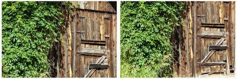 Collage oxidado de la puerta de granero de las bisagras de Barnwood Fotos de archivo libres de regalías