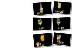Collage på den olika alkoholiserade coctailen för vit bakgrund royaltyfri bild
