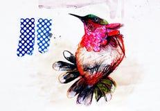 Collage på papper av den färgrika paradisfågeln Arkivbilder