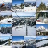 Collage: Paesaggi della stazione sciistica della montagna di inverno Fotografie Stock Libere da Diritti