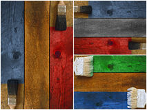 Collage of paintbrushes staining timber Stock Photo