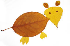 Collage painting with leaves--little mouse. Collage painting with leaves,interesting Royalty Free Stock Images