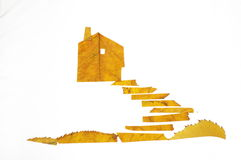 Collage painting with leaves--With the steps of the house. Collage painting with leaves,interesting Stock Photography
