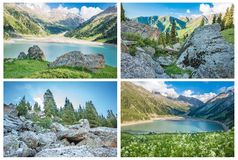 Collage of panorama of spectacular scenic Big Almaty Lake ,Tien Shan Mountains in Almaty, Kazakhstan,Asia Stock Images