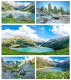 Collage of panorama of spectacular scenic Big Almaty Lake Stock Images