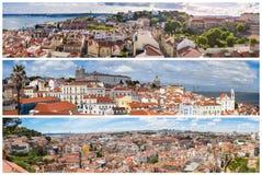 Collage panoramico dei punti di vista della città di Lisbona - MI del mosaico dell'immagine immagine stock libera da diritti