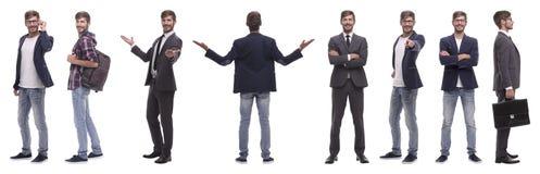 Collage panoramico del giovane auto-motivato Isolato su bianco immagine stock