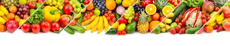 Collage panoramico della frutta fresca e delle verdure isolate sul whi Fotografie Stock