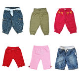Collage of pants for baby Royalty Free Stock Photo