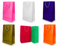 Collage of paper bags isolated on white. Royalty Free Stock Photography
