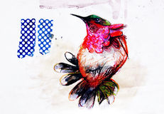Collage on paper of colorful paradise bird Stock Images