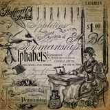 Vintage Penmanship Collage Background Paper Design - Fountain Pens - Ink - Alphabet - Writing Primer. Collage paper design combining vintage penmanship elements royalty free stock photography