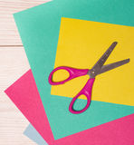 Collage paper and scissors Royalty Free Stock Image