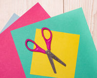 Collage paper and scissors Royalty Free Stock Photography