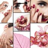 Collage para la industria del cuidado médico y de la belleza fotografía de archivo