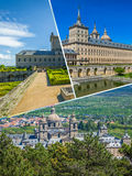 Collage of Park in Castle Escorial at San Lorenzo near Madrid Spain Stock Photos