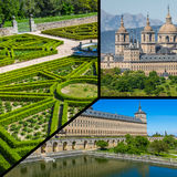 Collage of Park in Castle Escorial at San Lorenzo near Madrid Spain Stock Image