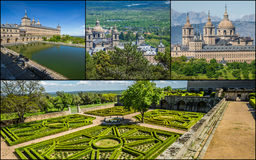 Collage of Park in Castle Escorial at San Lorenzo near Madrid Spain Stock Photo