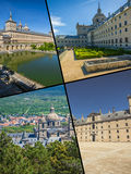 Collage of Park in Castle Escorial at San Lorenzo near Madrid Spain Stock Photography