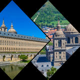 Collage of Park in Castle Escorial at San Lorenzo near Madrid Spain Royalty Free Stock Photo
