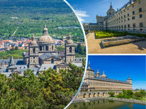 Collage of Park in Castle Escorial at San Lorenzo near Madrid Spain Royalty Free Stock Image