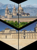 Collage of Park in Castle Escorial at San Lorenzo near Madrid Spain Stock Images
