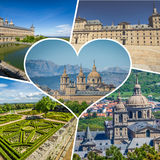 Collage of Park in Castle Escorial at San Lorenzo near Madrid Spain Royalty Free Stock Photos