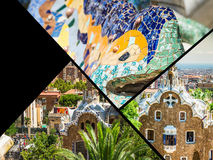 Collage of Park Guell in Barcelona, Spain. Stock Image