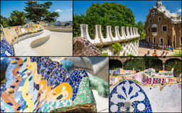 Collage of Park Guell in Barcelona, Spain. Stock Images