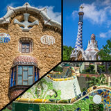 Collage of Park Guell in Barcelona, Spain. Royalty Free Stock Image
