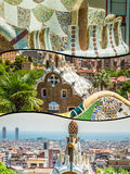Collage of Park Guell in Barcelona, Spain. Stock Photography