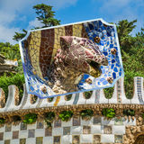 Collage of Park Guell in Barcelona, Spain. Stock Photos
