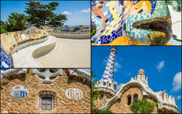 Collage of Park Guell in Barcelona, Spain. Royalty Free Stock Photography