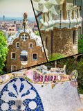 Collage of Park Guell in Barcelona, Spain. Stock Photo