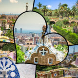 Collage of Park Guell in Barcelona, Spain. Royalty Free Stock Photo