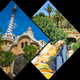 Collage of Park Guell in Barcelona, Spain. Royalty Free Stock Images