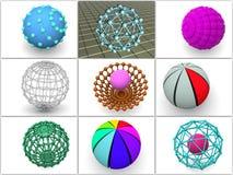 Collage a partir de 9 esferas tridimensionales. iconos. ilustración del vector