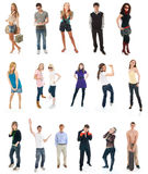 Collage a partir de diecisiete personas aisladas en un blanco Imagen de archivo libre de regalías