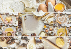 Collage Pastry, cakes, cook their own hands. Stock Photography
