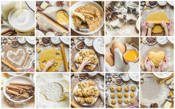 Collage Pastry, cakes, cook their own hands. Stock Image
