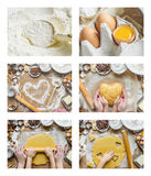 Collage Pastry, cakes, cook their own hands. Royalty Free Stock Photo
