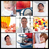 Collage of patients recovering in hospital Stock Images