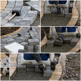 Collage of paving work Stock Photography
