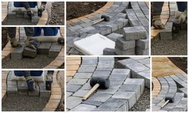 Collage paving work Royalty Free Stock Photography