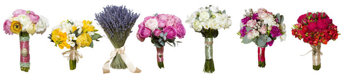 Collage of  peony roses bouquets #4 Stock Image